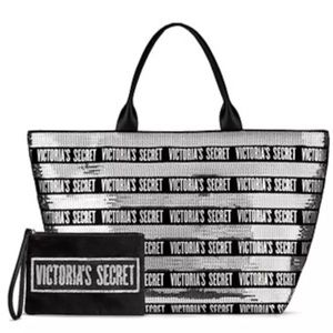 Victoria's Secret Sequin Tote With Matching Pouch